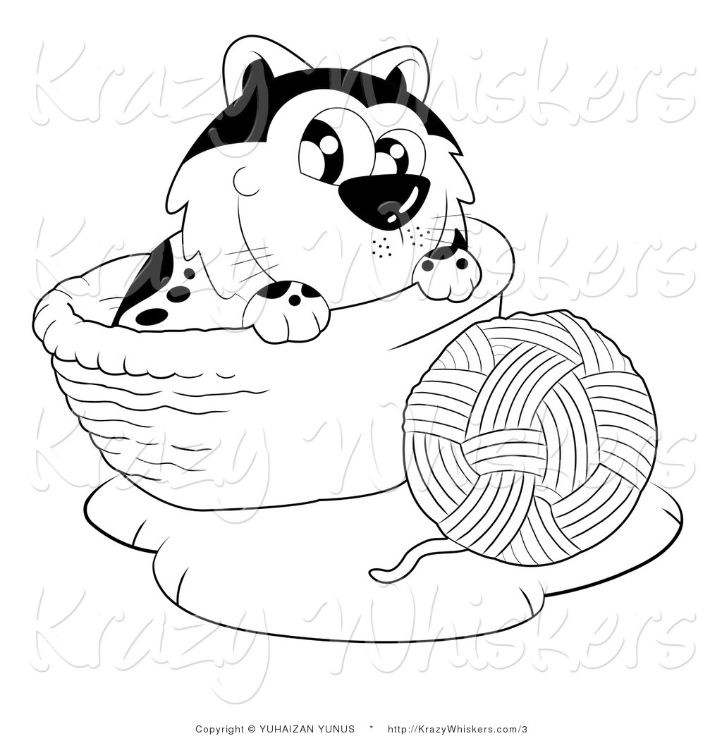 Yarn Clipart Black And White Kitty Clipart Of A Black And