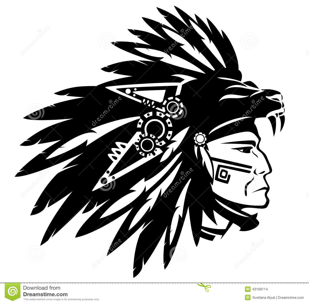 Aztec Tribe Warrior Wearing Feather Headdress With Panther Head