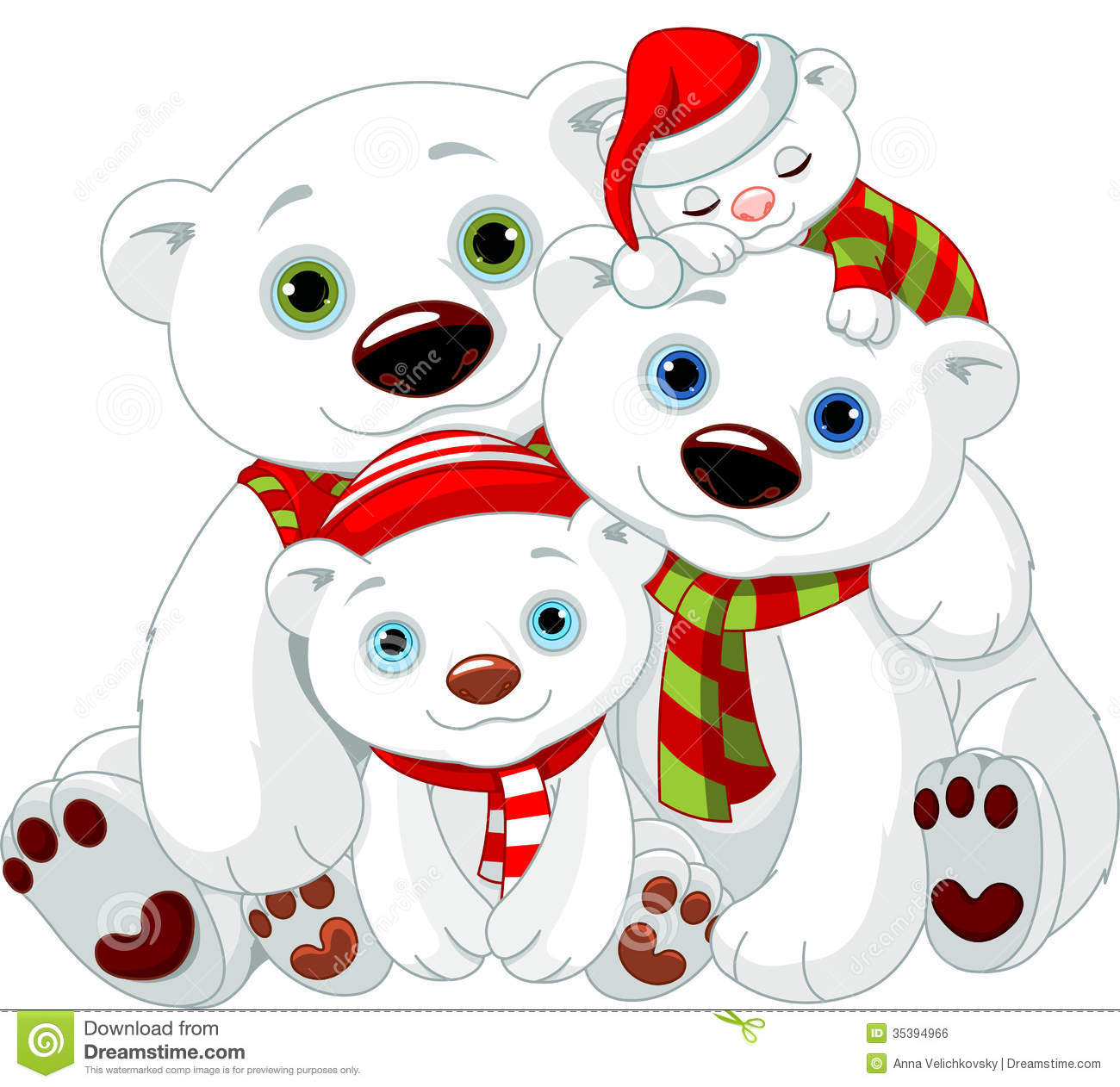 Big Polar Bear Family At Christmas Royalty Free Stock Image   Image