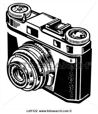 Black And White Version Of A Vintage Camera Cof1122   Search Clipart