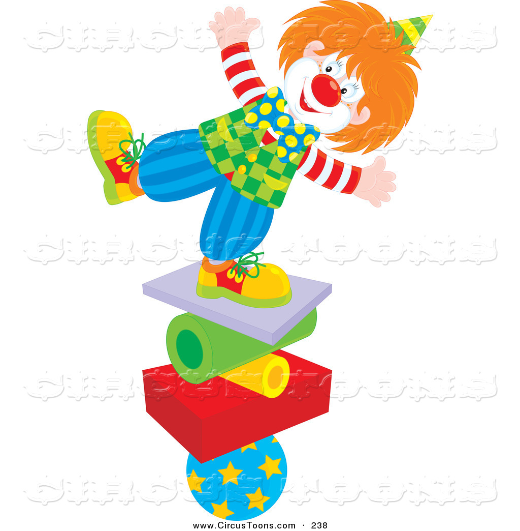 Circus Clipart Of A Cheerful Clown Balancing On A Stack Of