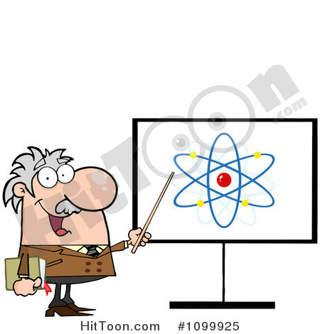 Clipart Happy Caucasian Professor Discussing An Atom Diagram   Royalty