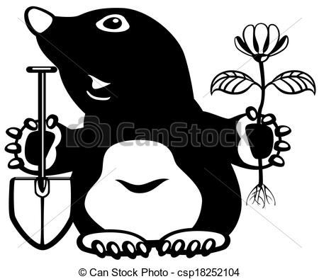 Clipart Of Cartoon Mole Holding Flower And Shovel Black And White