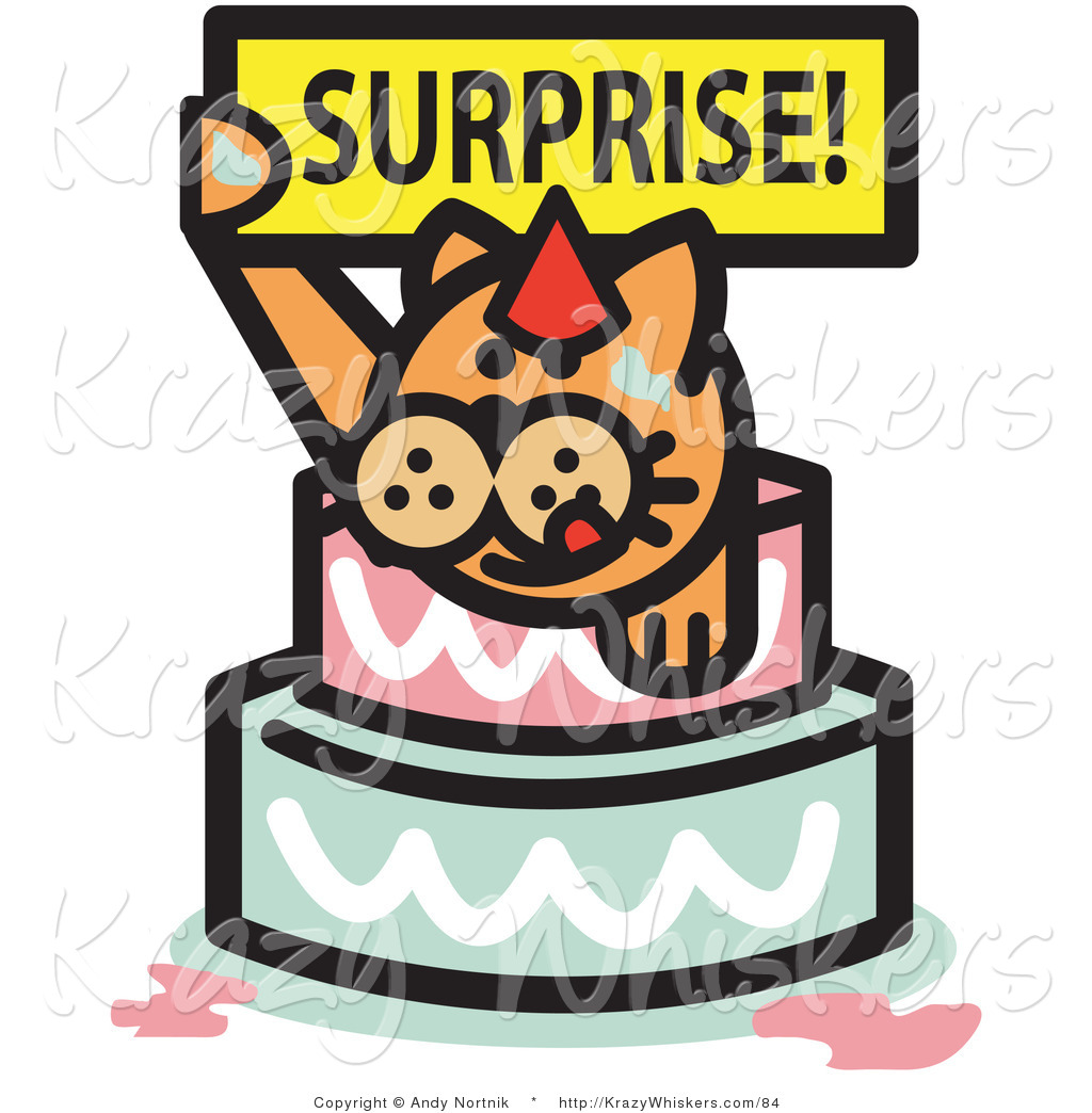 Critter Clipart Of An Orange Birthday Cat Holding A Surprise Sign And