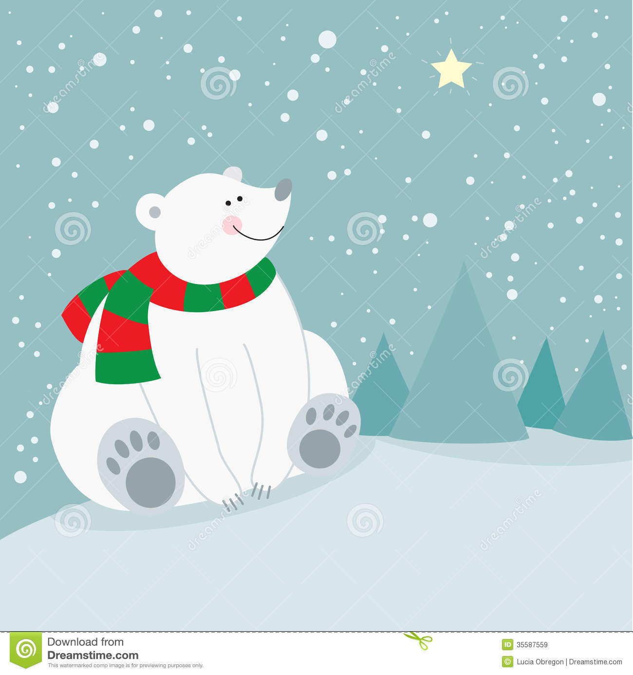 Cute Christmas Holiday Polar Bear Royalty Free Stock Images   Image