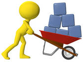 Data Collection Clipart Person Moving Data Cubes Boxes