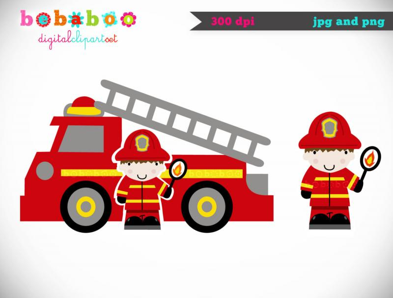 Firefighter Fire Truck Clipart - Clipart Kid