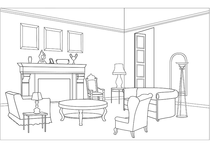 Living Room Coloring Pages Living Room Coloring Page