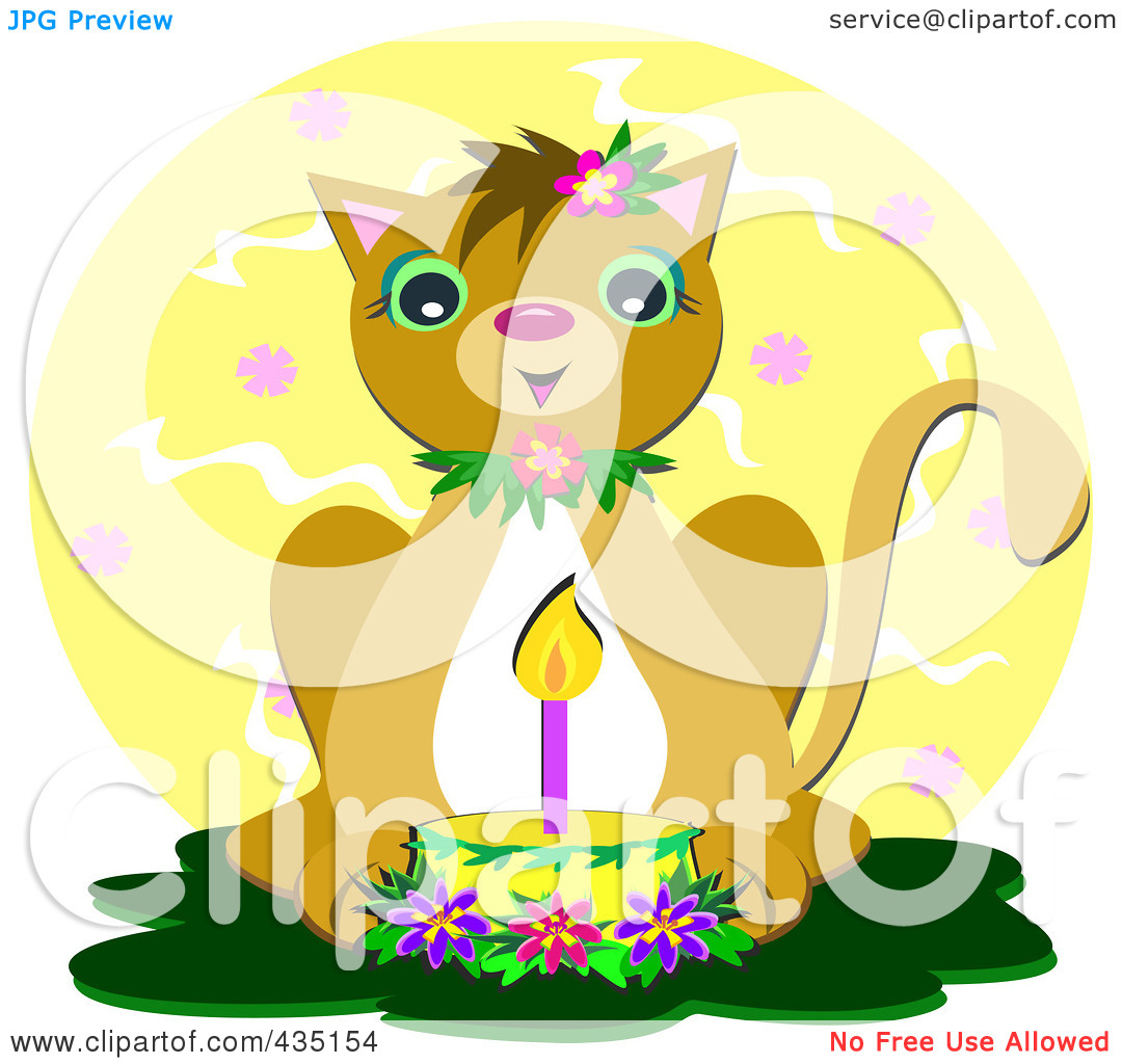 Royalty Free  Rf  Clipart Illustration Of A Birthday Cat With A Cake