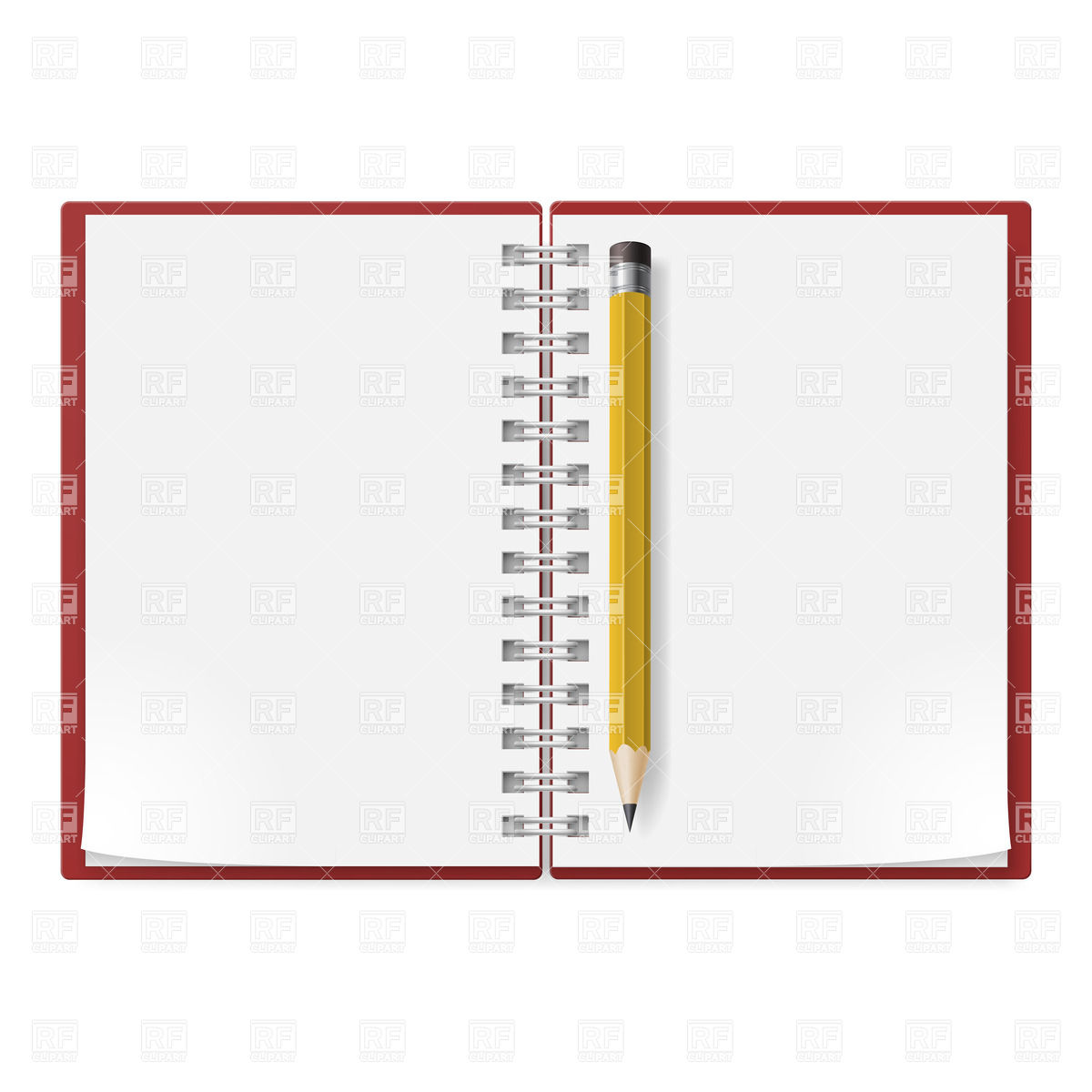 Spiral Notepad Facing Pages And Yellow Pencil Download Royalty Free