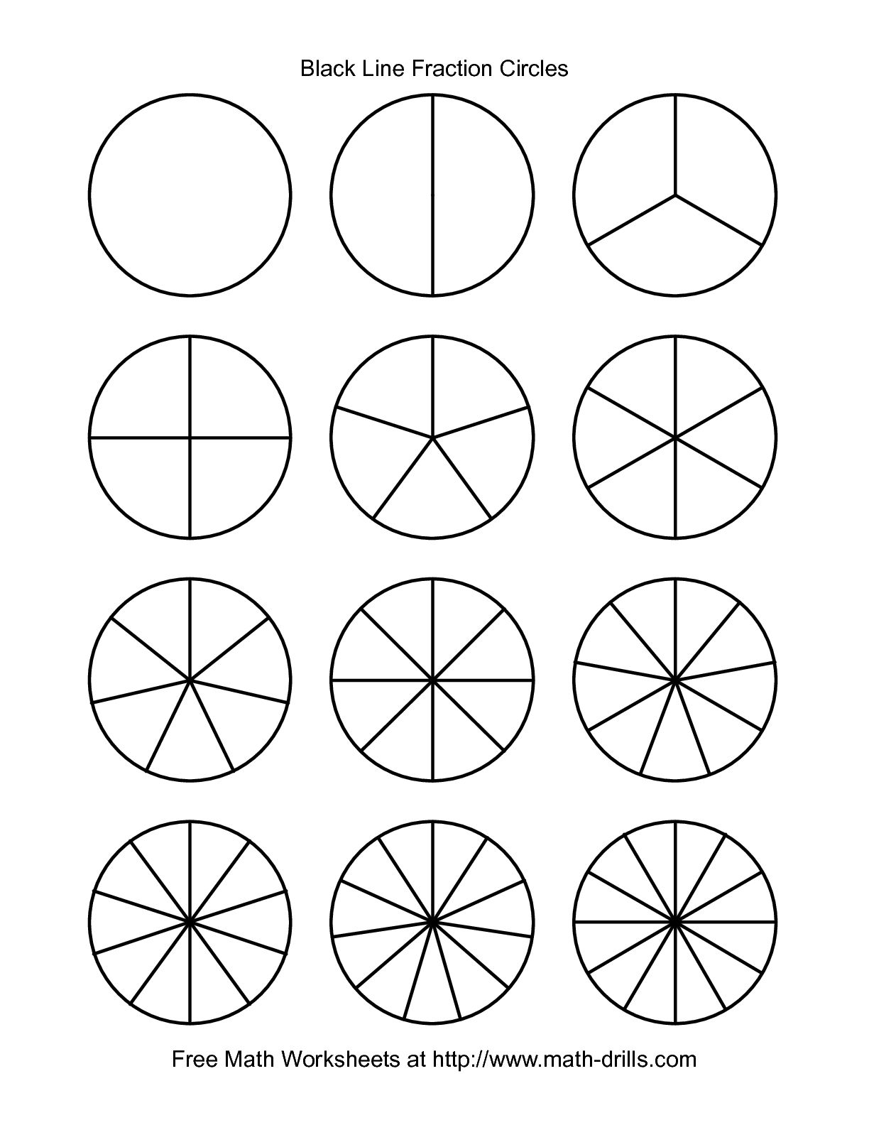 The Blackline Fraction Circles Small Unlabeled Fractions Worksheet