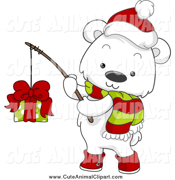 Vector Cartoon Clip Art Of A Christmas Polar Bear Fishing A Present By