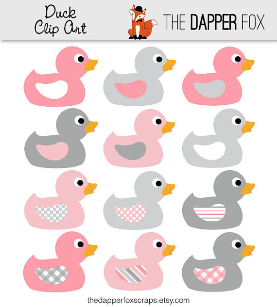 And Grey Duck Clip Art   Instant Download   Baby Shower Clipart Rubber