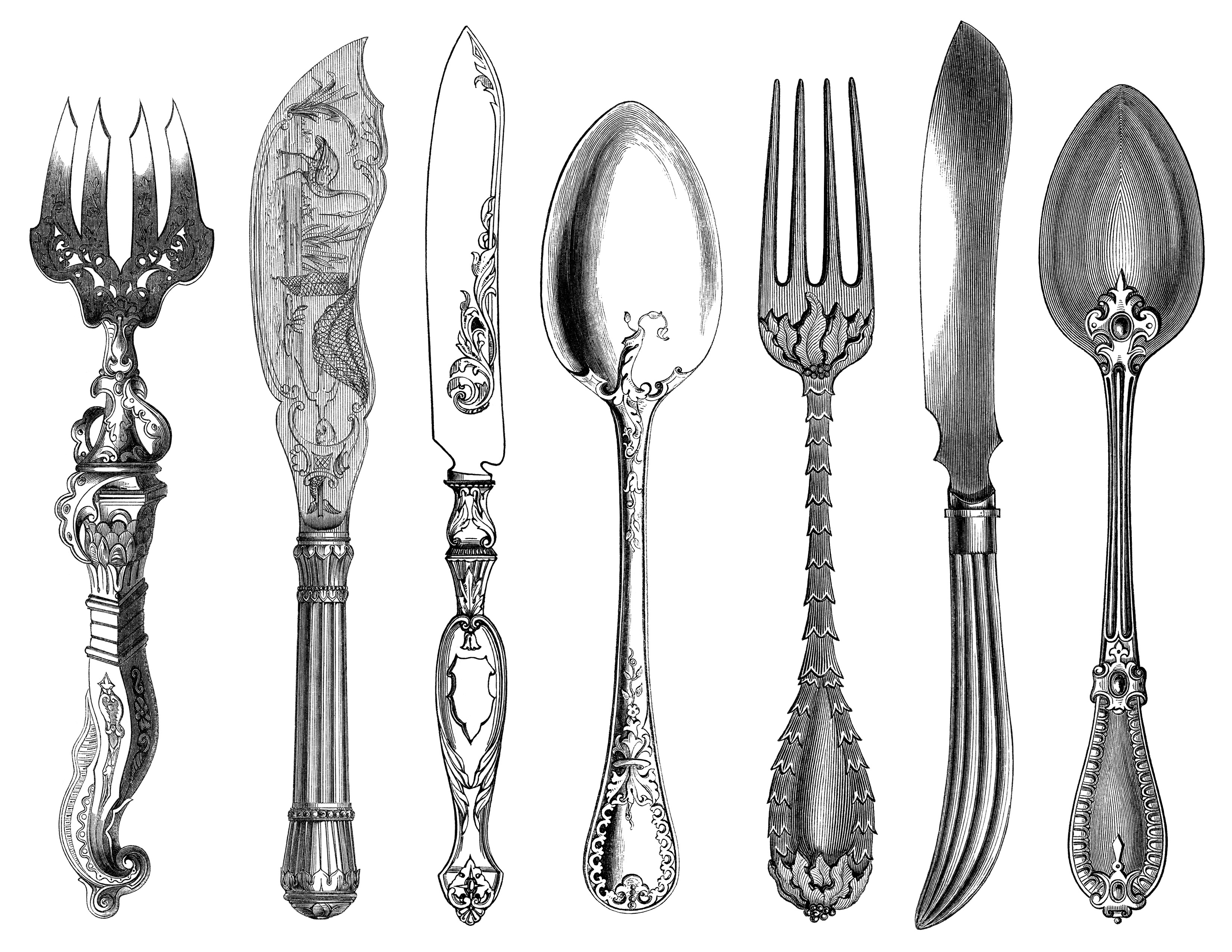 Black And White Clip Art Kitchen Printable Fork Knife Spoon Clipart