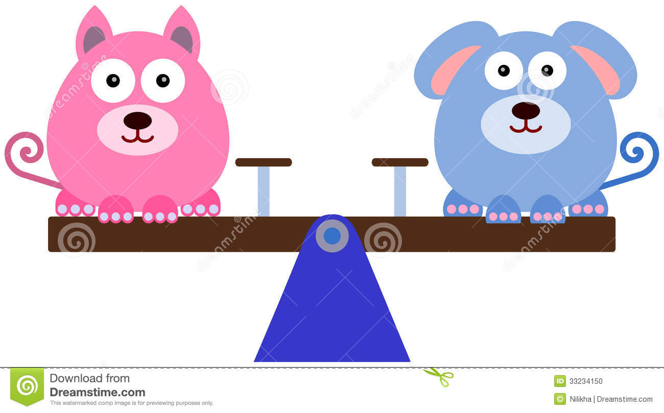 Cute Illustration Of A Dog And A Cat Sitting On A Balanced Seesaw
