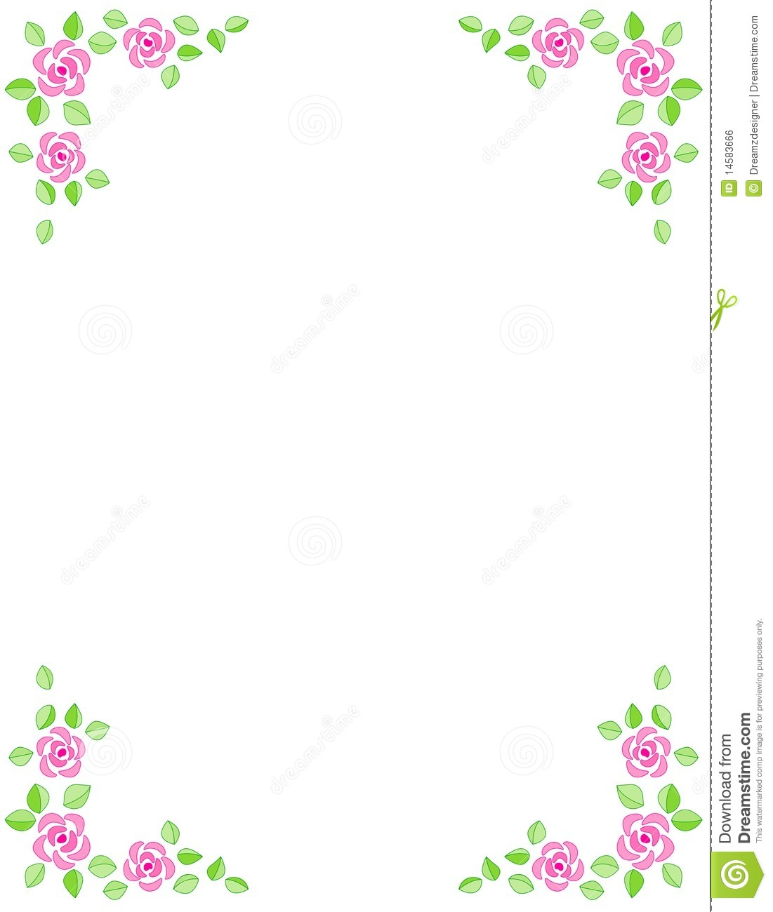Rose Border With Beautiful Pink Roses  For Birthday  Mother S Day