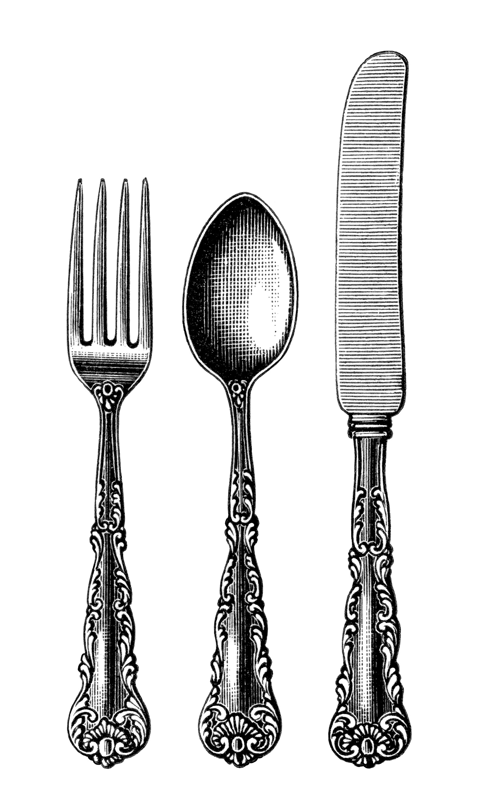 Vintage Cutlery Clipart Black And White Clip Art Old Fashioned Spoon
