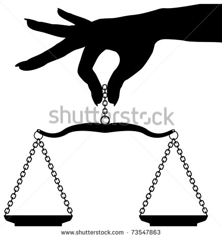 Woman Hand Holding To Scale To Weigh Objects In Balance   Stock Photo