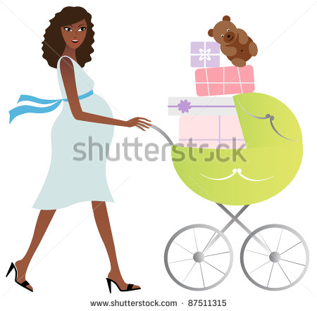 African American Pregnant Woman With Carriage Full Of Gifts   Stock