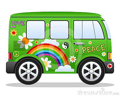 Cartoon Retro Green Hippie Van With Rainbow Clouds And Flowers