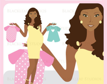 Clip Art Image Of A Pregnant African American Woman