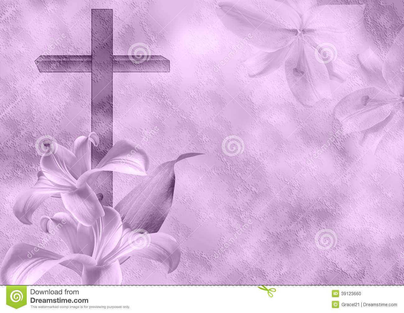 Cross And Lily Flower On Purple Background Mr No Pr No 2 829 2