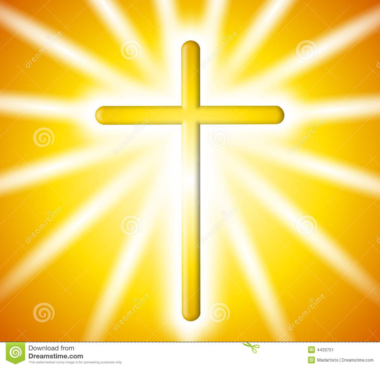 Cross With Rays Of White Light On Gold Gradient Background Mr No Pr No