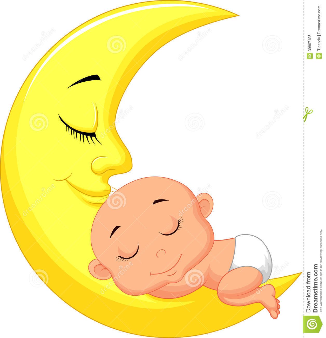 Cute Baby Cartoon Sleeping On The Moon Stock Vector   Image  39807185