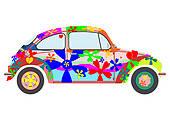 Hippie Car   Royalty Free Clip Art