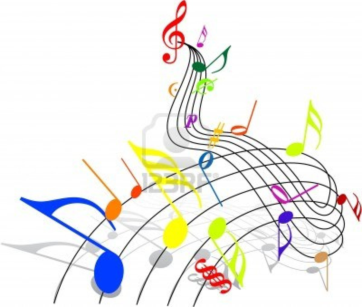 Notes Music Theme   Colorful Notes On White Background Royalty Free