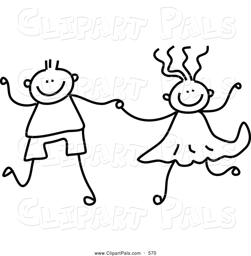 Pal Clipart Of A Black And White Coloring Page Of A Boy And Girl