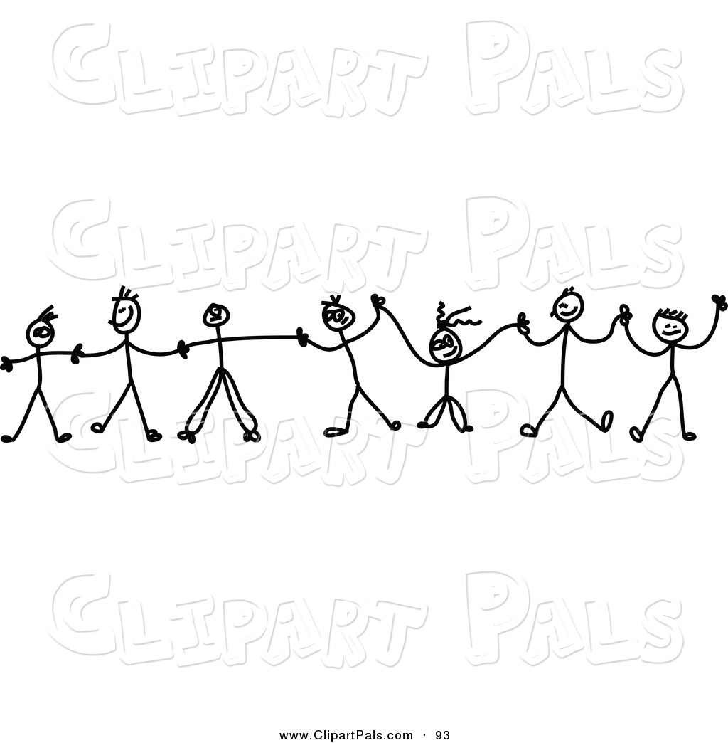 Pal Clipart Of A Chain Of Black And White Kids Holding Hands On White