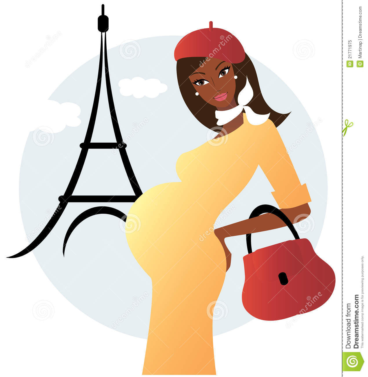 Pregnant African American Woman In Paris Royalty Free Stock Photo
