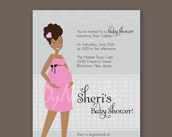 Pregnant Mom To Be Baby Shower Invitation   African American   Natural