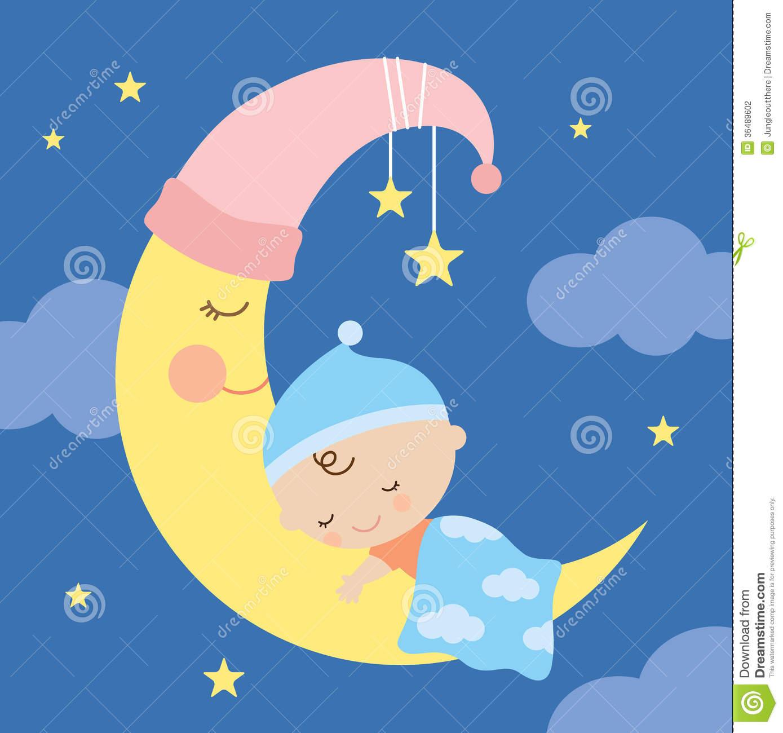 Baby Sleeping On Moon Clipart - Clipart Kid