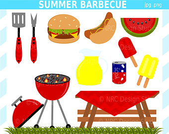Summer Barbecue Party Clip Art   Digital Barbecue Clipart   Cute Food