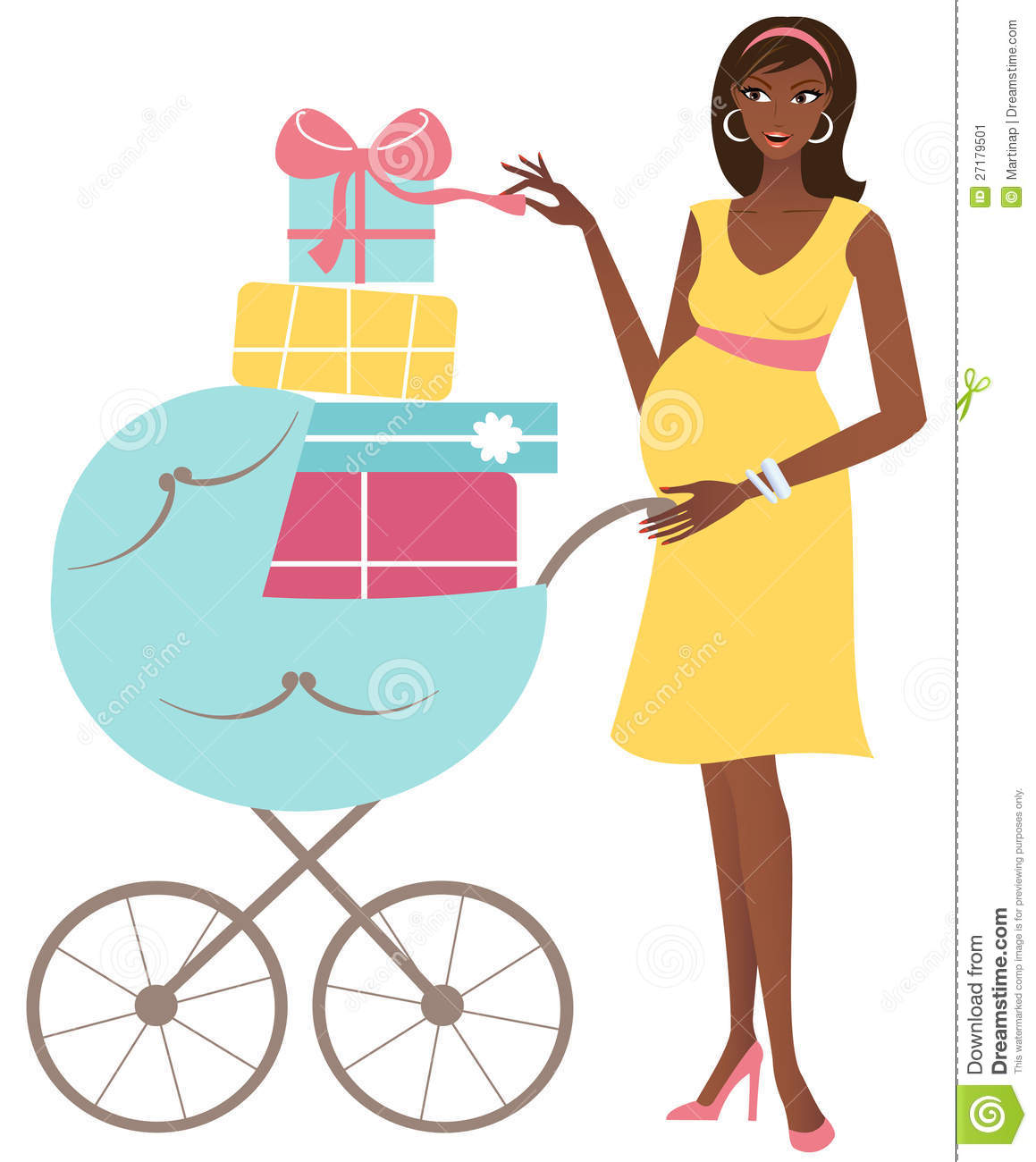 Young Attractive African American Pregnant Woman With A Stroller Full