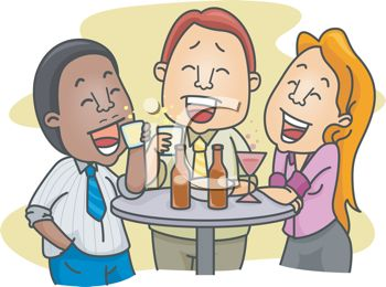 3814 Cartoon Of A Group Of Friends Having Drinks Clipart Image Jpg