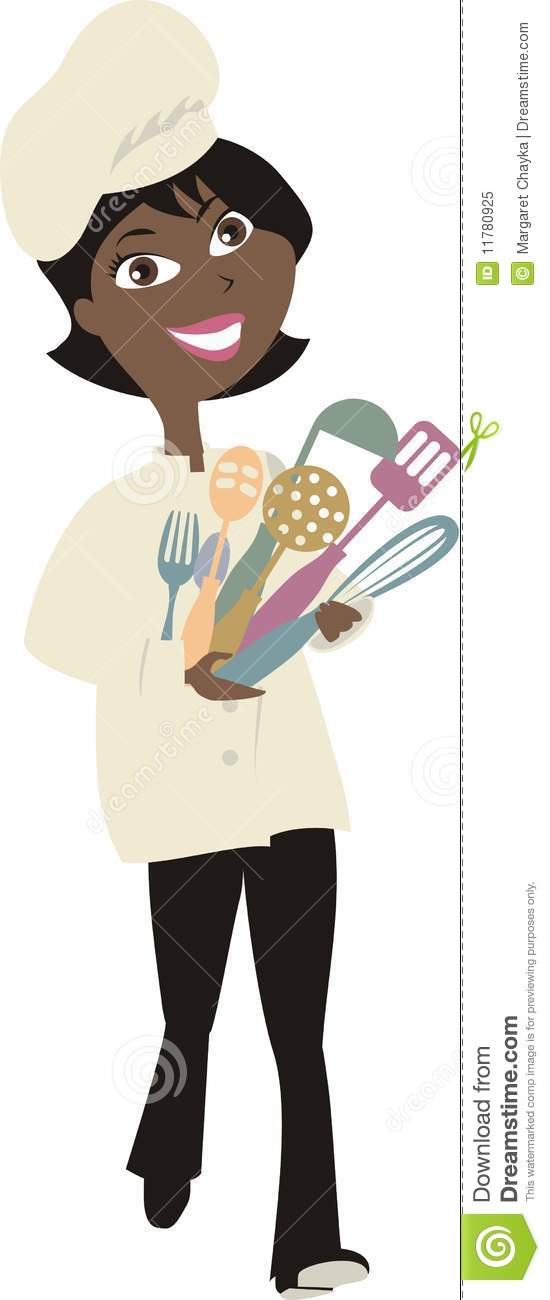 African American Woman Chef Cooking Utensils 2 Royalty Free Stock