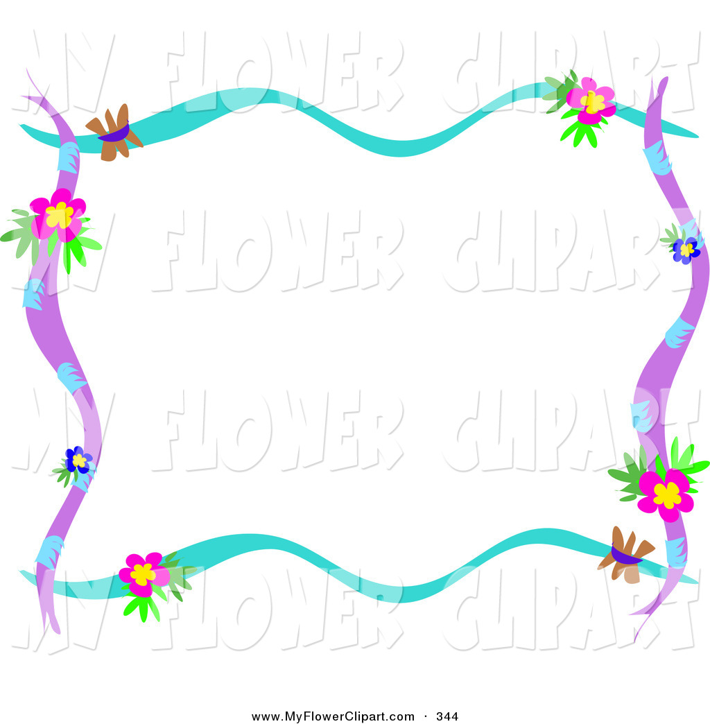 Blue And Purple Branches With Pink And Blue Flowers Over White By