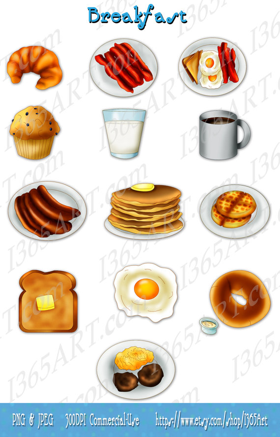 Breakfast Clipart Pack Scrapbooking Invitations Bacon Eggs