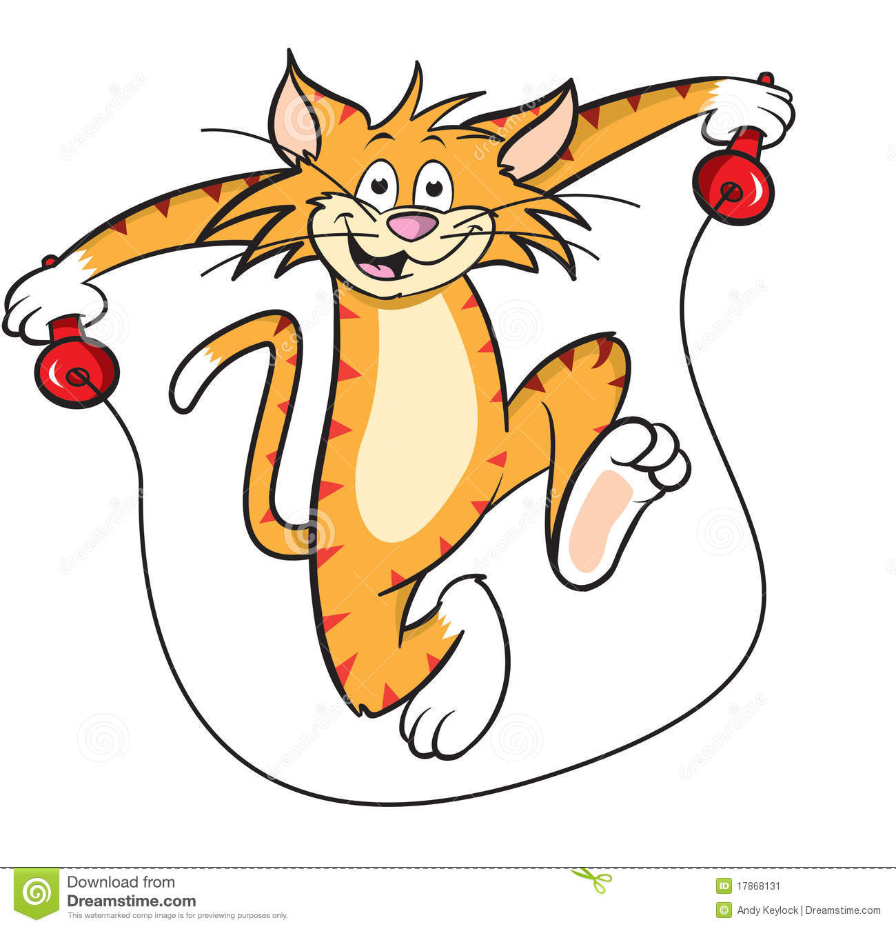 Cartoon Cat With Skipping Rope Stock Image   Image  17868131