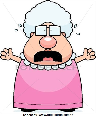 Cartoon Grandma With A Scared Expression