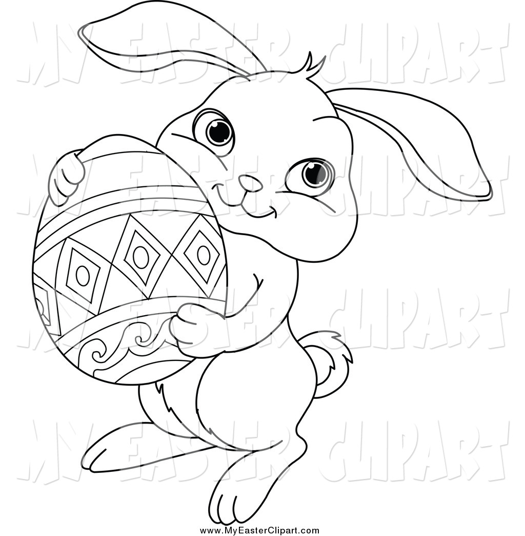 Clip Art Of A Black And White Easter Bunny Holding An Egg By Pushkin