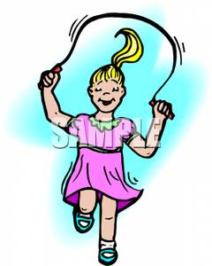 Clipart Picture  A Happy Cartoon Girl Skipping Rope