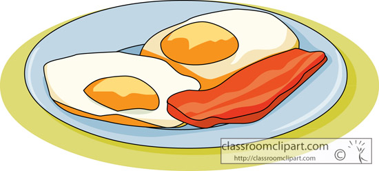 Clipart   Plate With Fried Eggs And Bacon   Classroom Clipart