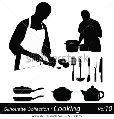 Cliparts  Cooking Silhouettes Chef Preparing A Meal   Hqvectors Com
