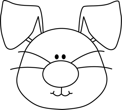 Dog Face Clipart Black And White Bunny Head Black White Png