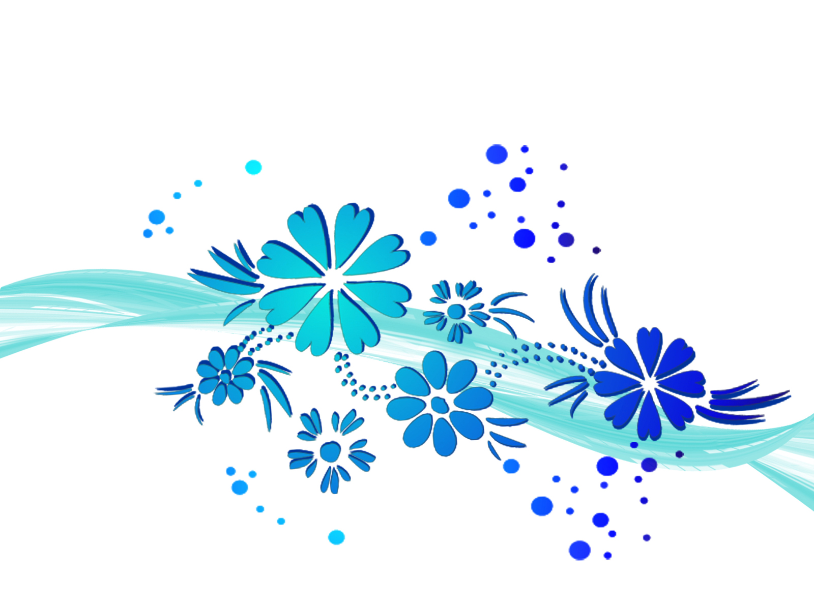 Flowers Wawe Blue Flowers Backgrounds Powerpoint Jpg