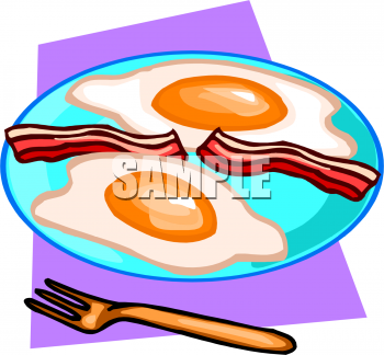 Fried Bacon And Eggs On A Plate Clipart Image   Foodclipart Com